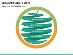 Circular Stack - 5 Steps PPT Slide 2