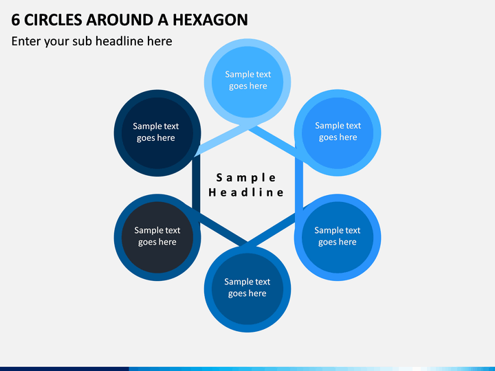 6 Circles Around a Hexagon PPT slide 1