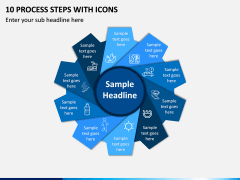 10 Process Steps with Icons PPT slide 1