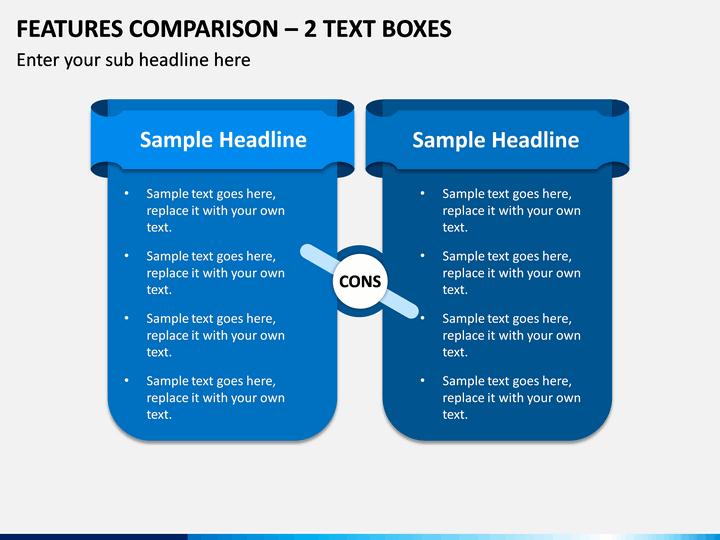 Features Comparison – 2 Text Boxes PPT slide 1