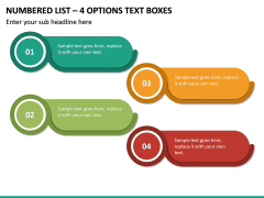 Numbered List – 4 Options Text Boxes PPT slide 2
