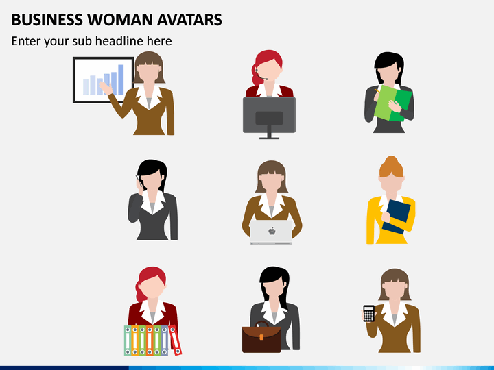 Business Woman Avatars Powerpoint Template Sketchbubble