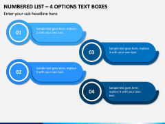 Numbered List – 4 Options Text Boxes PPT slide 1
