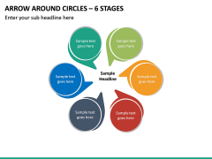 Arrow Around Circles – 6 Stages PPT slide 2