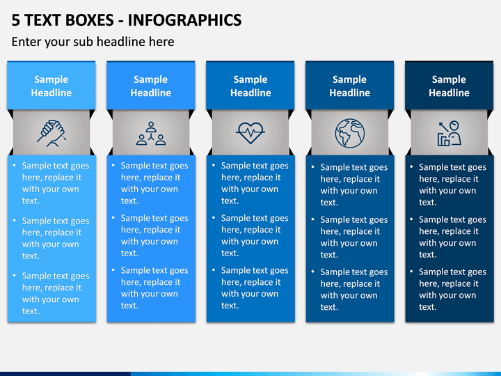5 Text Boxes - Infographics PPT slide 1