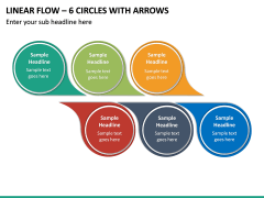 Linear Flow – 6 Circles with Arrows PPT slide 2
