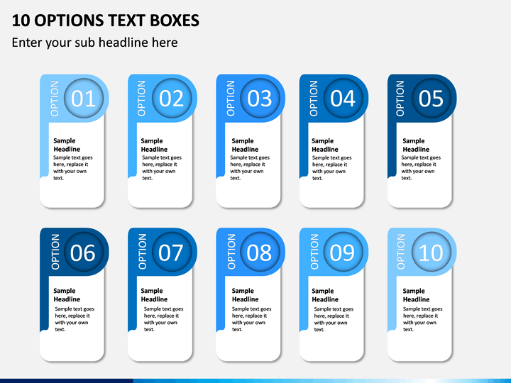 10 Options Text Boxes PPT slide 1