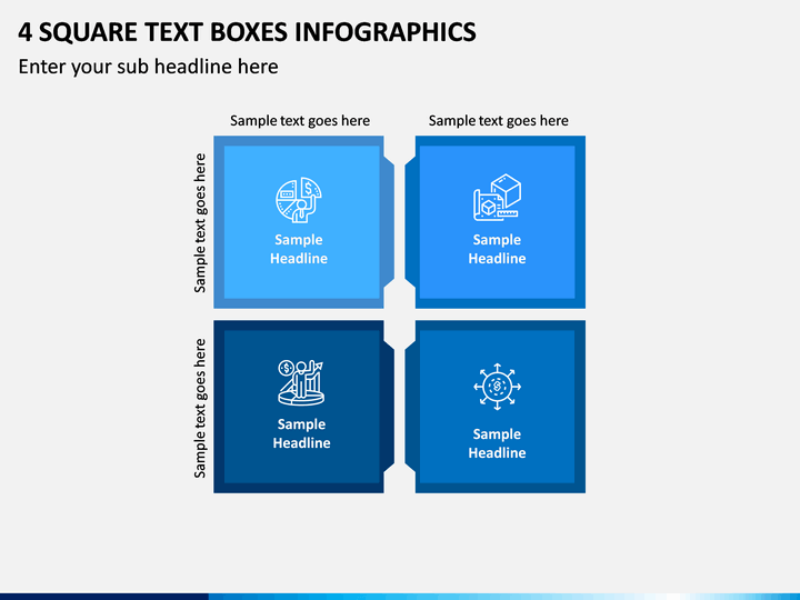 4 Square Text Boxes Infographics PPT slide 1