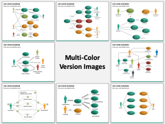 Use cases diagram multicolor combined