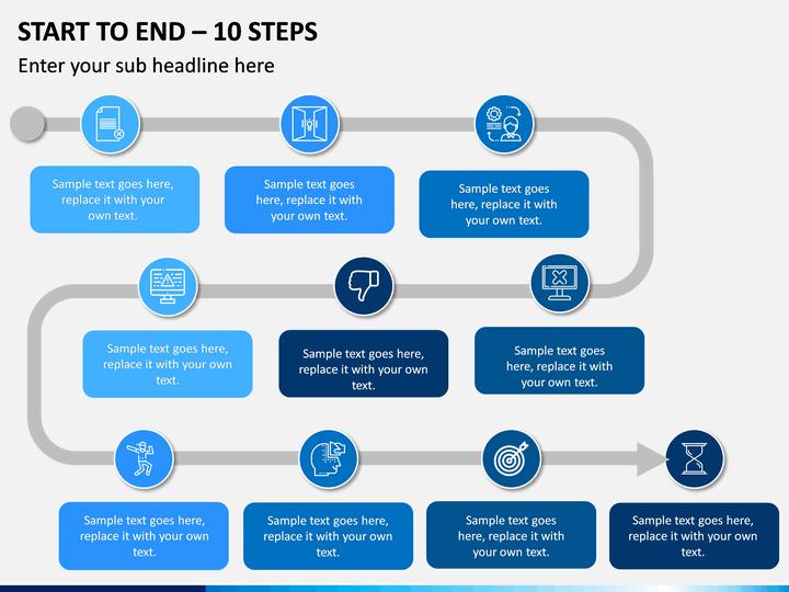 Start To End – 10 Steps PPT slide 1