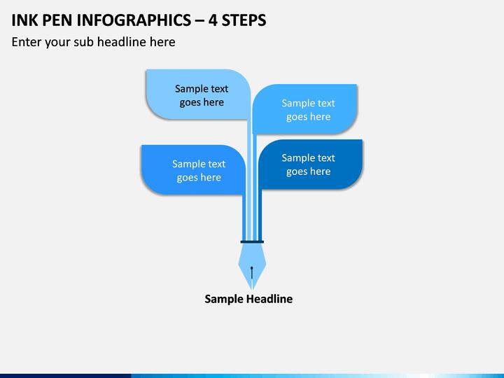 Ink Pen Infographics – 4 Steps PPT slide 1