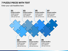 7 Puzzle Pieces with Text PPT slide 1