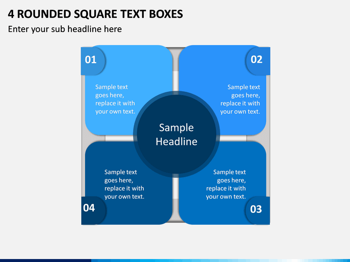 4 Rounded Square Text Boxes PPT slide 1