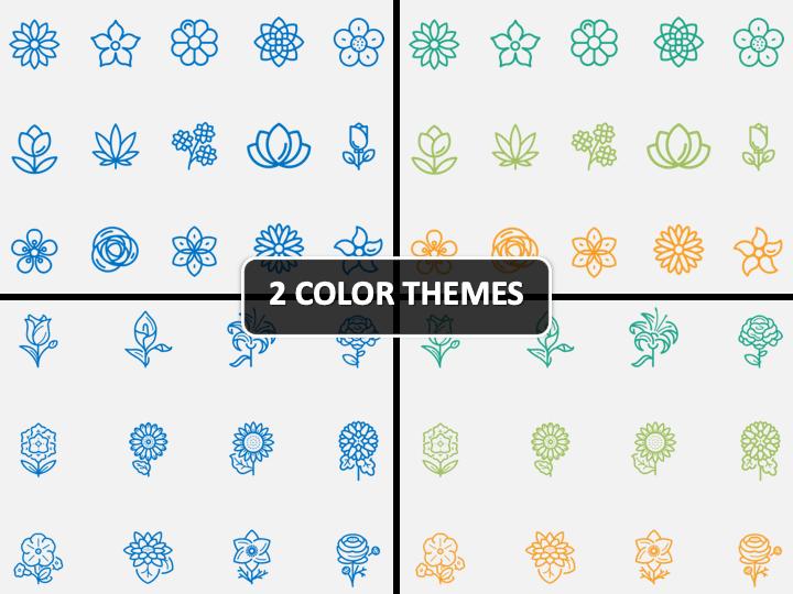 Flower Icons PPT Cover Slide