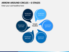 Arrow Around Circles – 6 Stages PPT slide 1