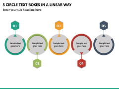 5 Circle Text Boxes in a Linear Way PPT slide 2