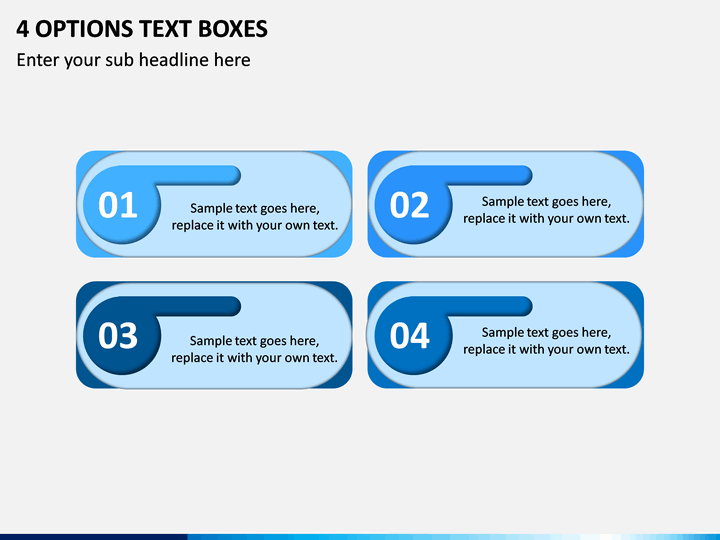 4 Options Text Boxes PPT slide 1