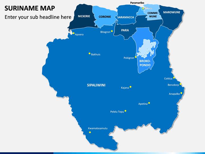 Suriname Map PPT Slide 1