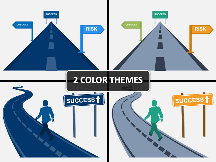 Road To Success PPT Cover Slide