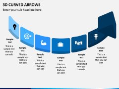 3D Curved Arrows PPT Slide 4