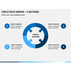 Circle with Arrow – 4 Sections PPT Slide 1
