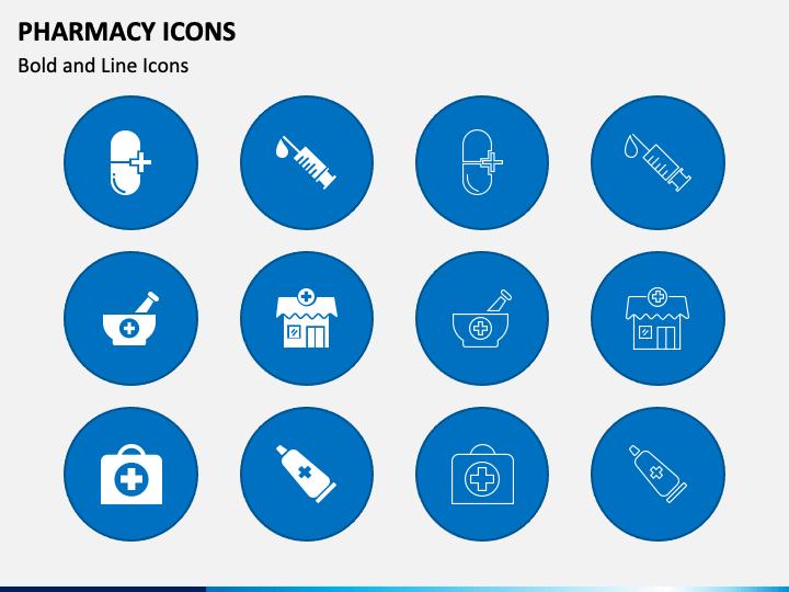 Pharmacy Icons PPT Slide 1