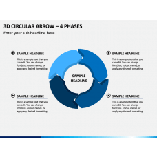 3d Circular Arrow – 4 Phases PPT Slide 1