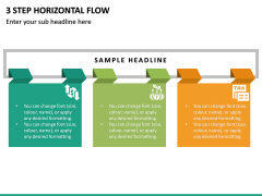 3 Step Horizontal Flow PPT Slide 2