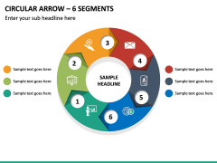 Circular Arrow - 6 Segments PPT Slide 2