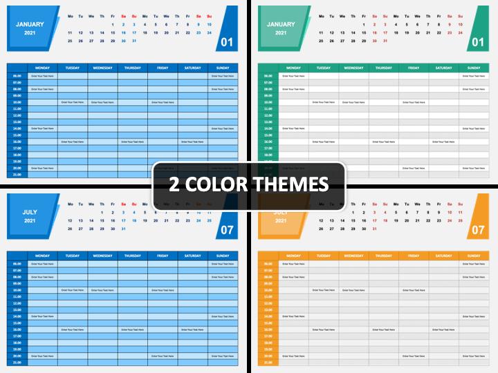 Calendar 2021 Weekly Schedule PPT Cover Slide