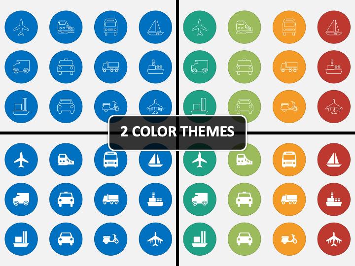 Transport Icons PPT Cover Slide