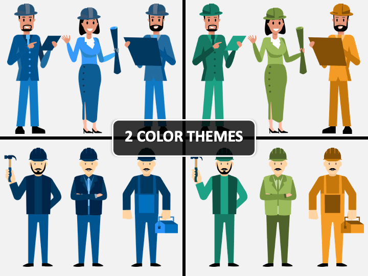 Engineer Characters PPT Cover Slide