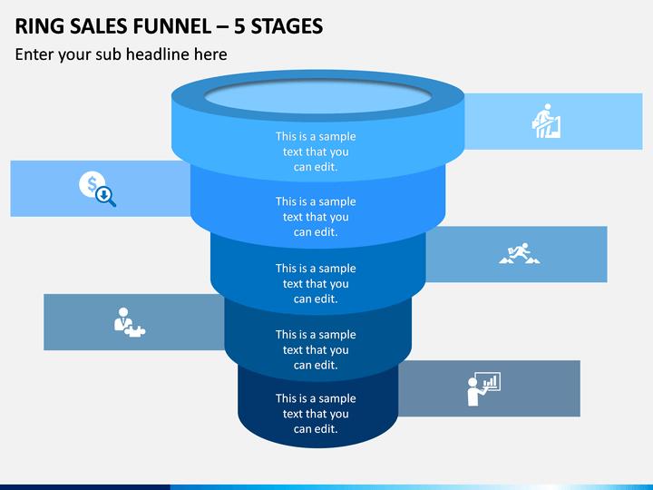 Ring Sales Funnel - 5 Stages PPT Slide 1