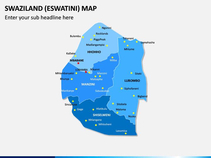 Swaziland (Eswatini) Map PPT Slide 1