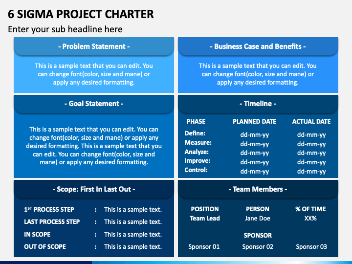 6 Sigma Project Charter PPT Slide 1