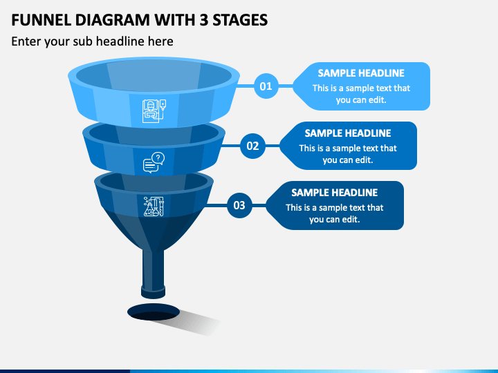 Funnel Diagram With 3 Stages Slide 1