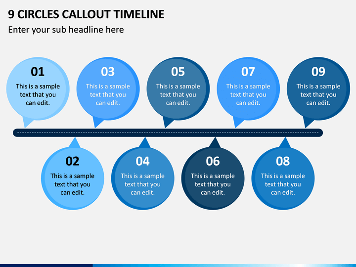 9 Circles Callout Timeline PPT Slide 1