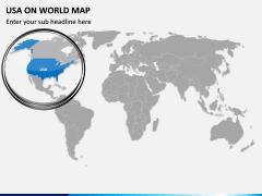 USA on World Map PPT Slide 2