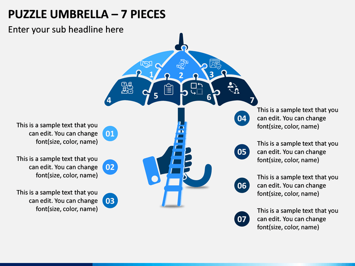 Puzzle Umbrella - 7 Pieces PPT Slide 1
