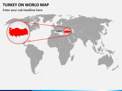 Turkey on World Map PPT Slide 1