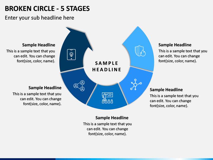 Broken Circle - 5 Stages PPT Slide 1