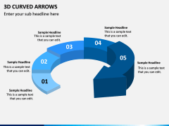 3D Curved Arrows PPT Slide 2