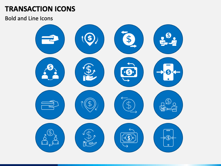 Transaction Icons PPT Slide 1
