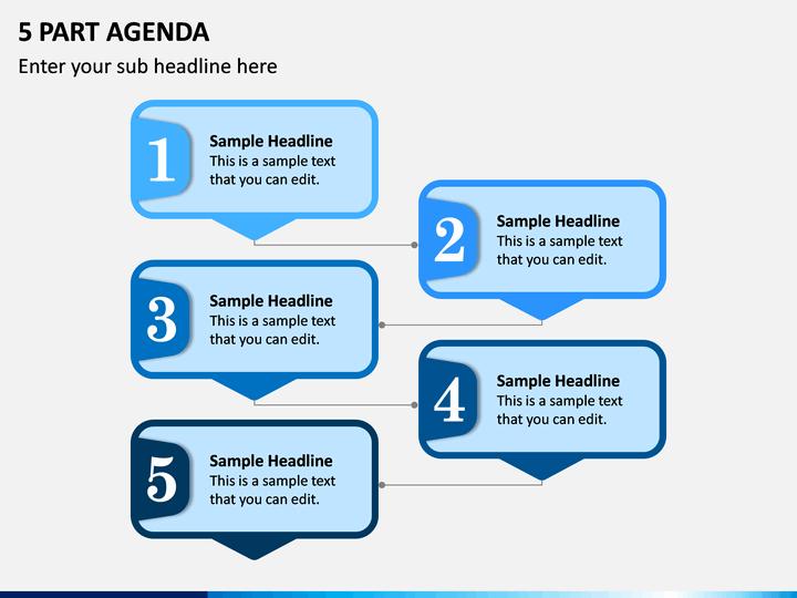 5 Part Agenda PPT Slide 1