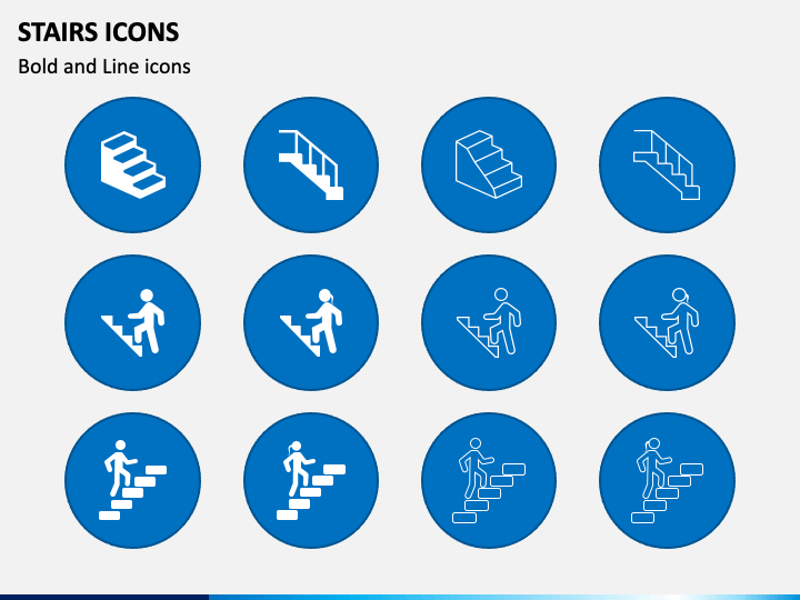 Stairs Icons PPT Slide 1