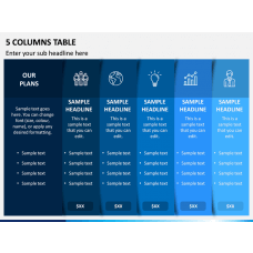 5 Columns Table PPT Slide 1