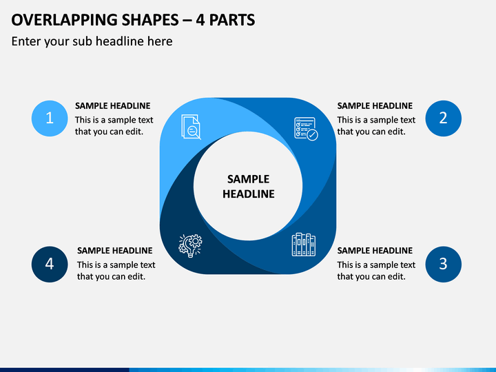 Overlapping Shapes – 4 Parts PPT Slide 1