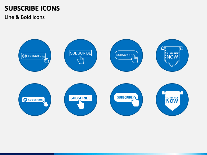 Subscribe Icons PPT Slide 1