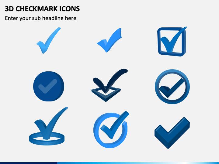 3D Checkmark Icons PPT Slide 1