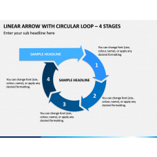 Linear Arrow With Circular Loop - 4 Stages PPT Slide 1